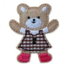 BROWN GINGHAM TEDDY MOTIF IRON ON EMBROIDERED PATCH APPLIQUE